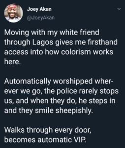 Nigerian columnist describes how his 'white' companion gets extraordinary treatment each time they go out together