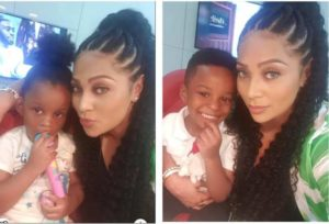 Peter Okoye's better half showers love on Paul's twins in spite of the ill will between the siblings