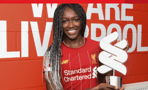 Meet Nigerian Player, Rinsola Babajide Who won The Liverpool Women's Player of the Month award