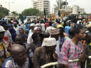 Lagos beggars protest at Governor Sanwo-Olu's office and House of Assembly (photos)