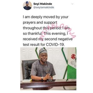 Governor Seyi Makinde of Oyo State beats Covid-19