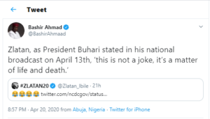'This is not a joke' – Presidential aide, Bashir Ahmad cautions singer Zlatan for 'laughing' over the new cases of Coronavirus
